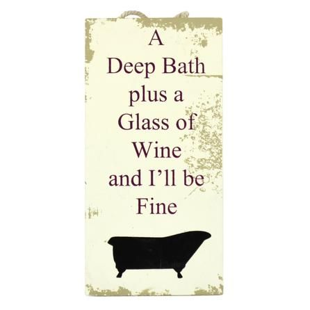 Wine And Bath Hanging Sign Dunelm Mill Gb New House