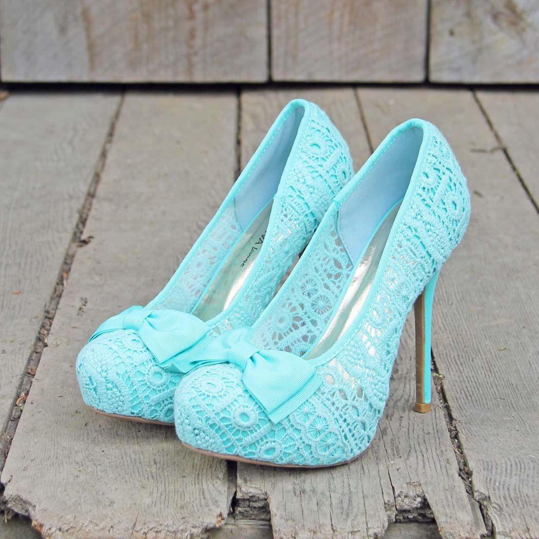 Mint & Lace Heels, Sweet Wedding & Bridesmaid Shoes