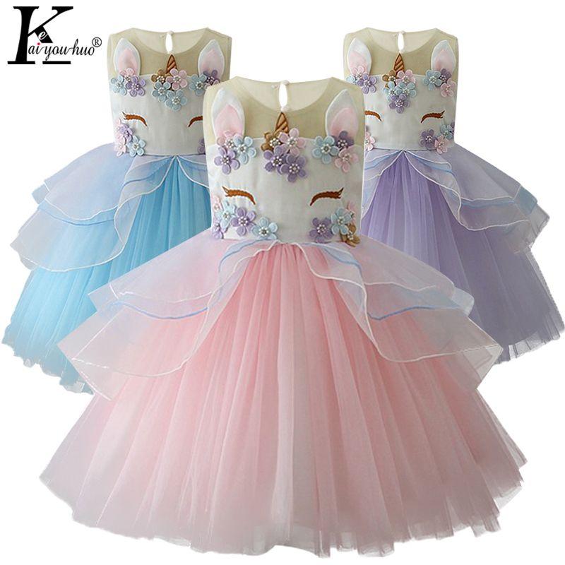 Unicórnio Partido Meninas Vestido Elegante Cinderela Traje Vestido Elsa Vestidos De Casamento De Ve Wedding Dresses For Kids Kids Dress Girls Christmas Dresses