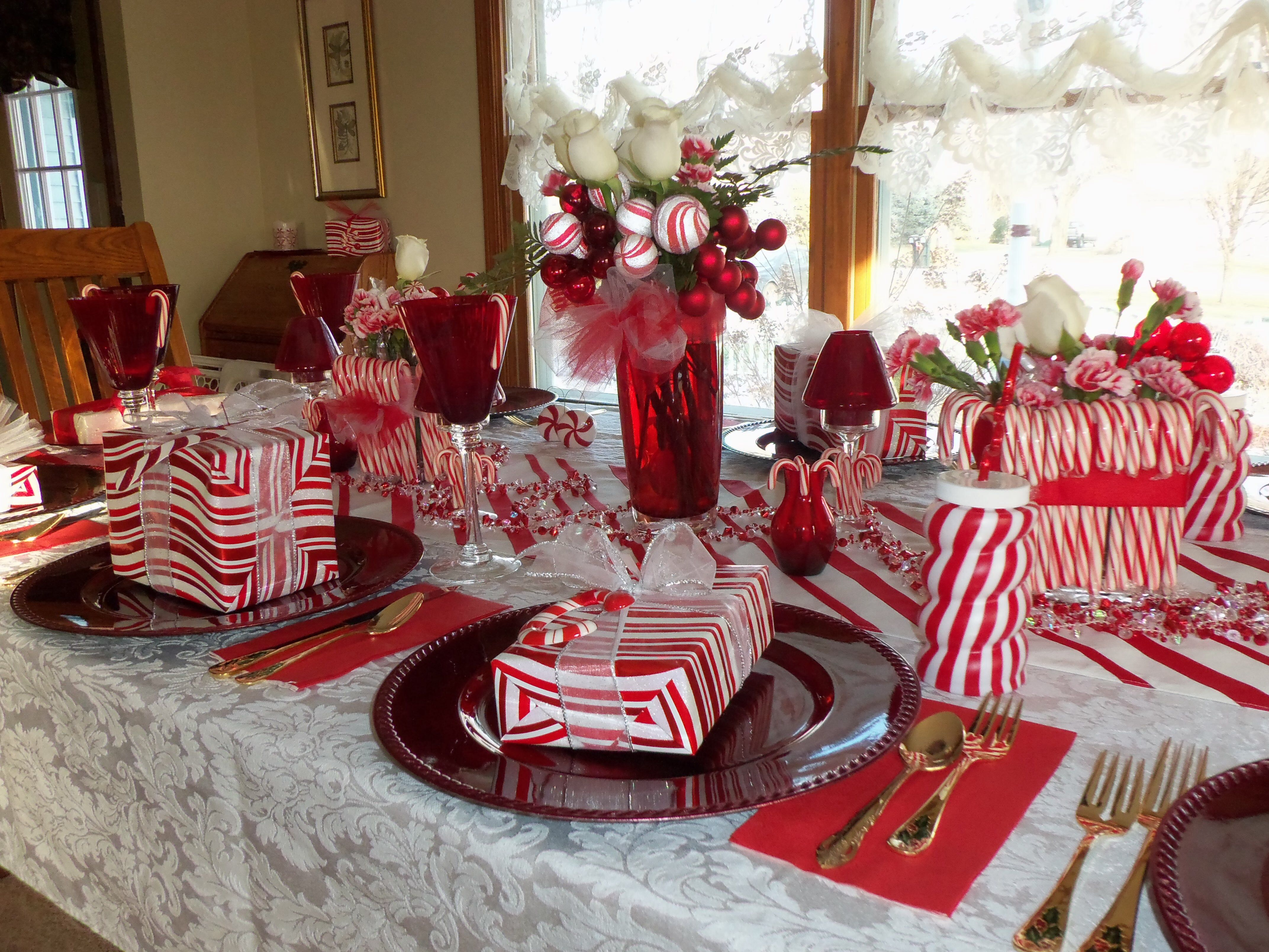 Candy cane Christmas table Candy cane Christmas