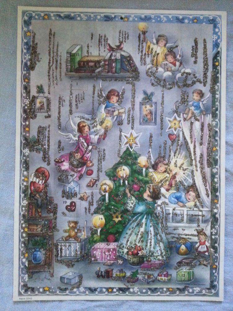 Six Vintage German Advent Calendars Children Angels Glitter Manger Adventskalender Adventkalender Weihnachtskarten