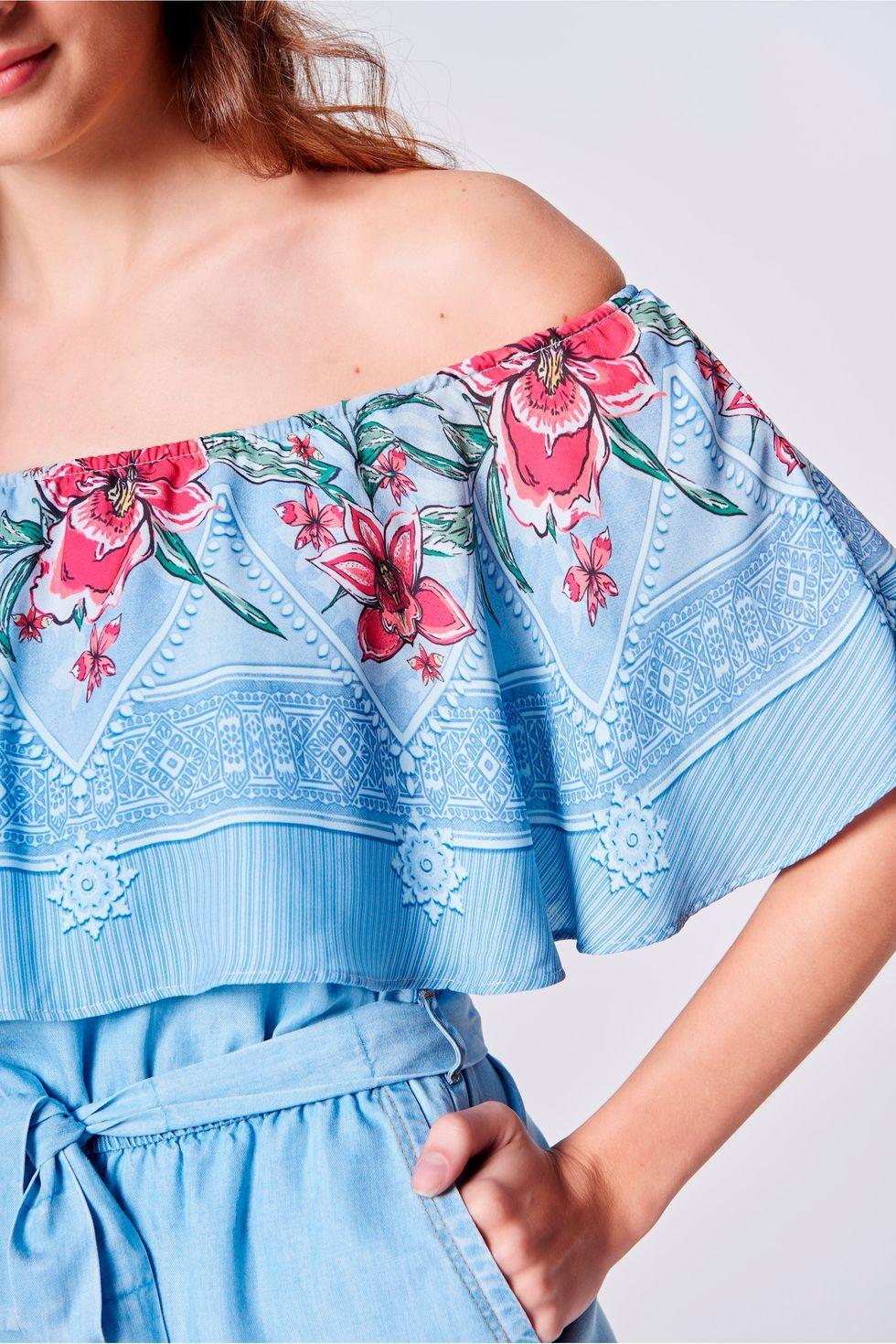 1387716c5 Macacão Curto Jeans Estampado Feminino - Damyller