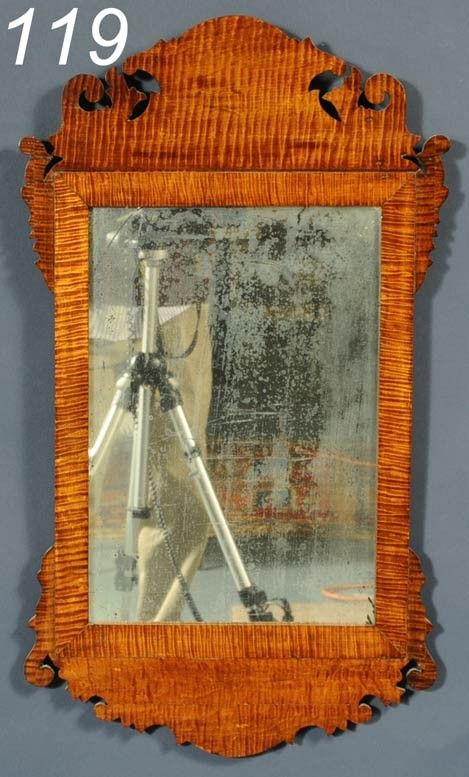 119 Tiger Maple Chippendale Mirror 29 Quot High On Antique