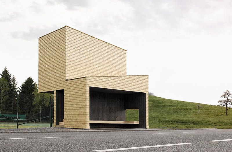 <p>Norwegian firm Rintala Eggertsson Architects designed a shelter near a tennis court that doubles as a spectator stand.</p>