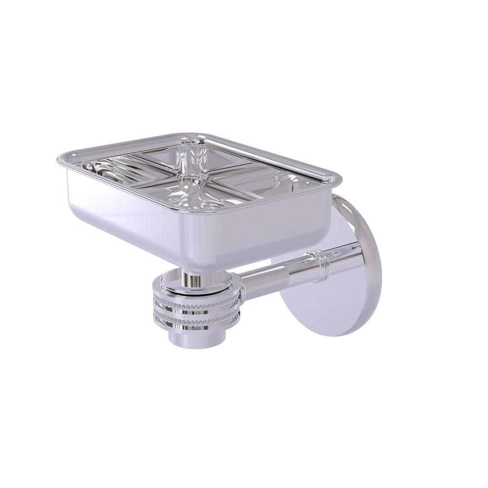 Allied Brass Satellite Orbit One Wall Mounted Soap Dish With Dotted Accents In Polished Chrome 7132d Pc The Home Depot Satellite Orbits Dish Soap Polished Chrome