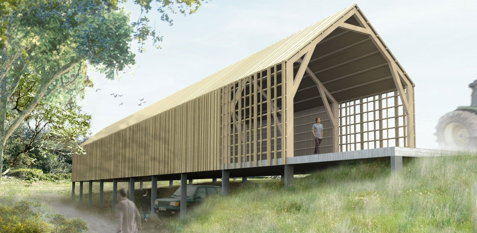 Le projet consiste en linscription dun volume longitudinale dans ce paysage agricole le nouvel hangar sinstalle au nord du domaine le long du chemin