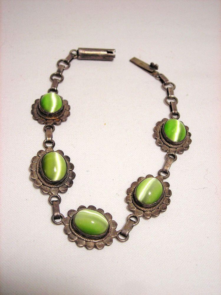 Sterling Silver Moonglow Link Bracelet Flower #Chain