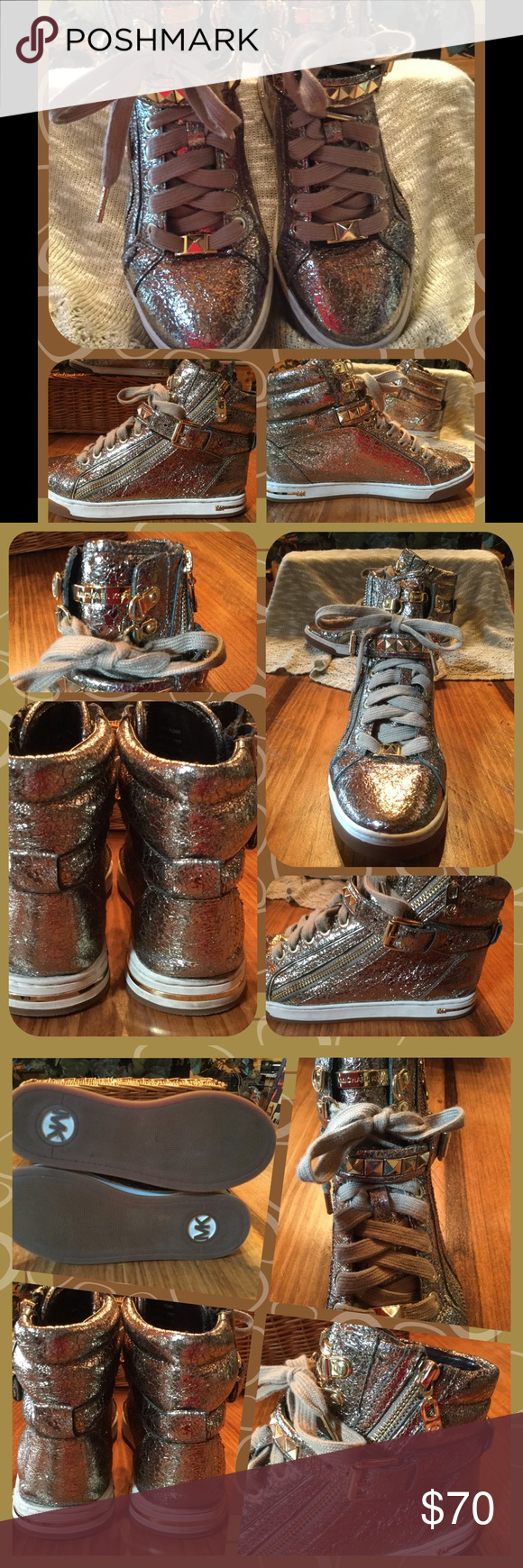 Michael Kors Glam Gold Metallic High Tops 6.5 Fashion forward, preowned, in very good condition, Michael Kors, Glam Studded, crinkle, gold metallic high top sneakers. Shoes have pyramid studded strap with workable, adjustable buckle, gold trim metal, dual zipper closures, lace up front, leather upper, padded collar, man-made lining, rubber sole. These are trendy, not your ordinary sneakers in size 6.5 M.  From smoke free home with pets. Please, no trades or holds. Michael Kors Shoes Sneakers