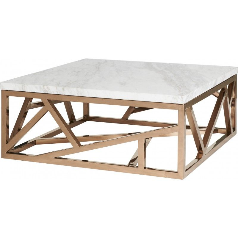 regency limited geometric marble and copper coffee table | coffee