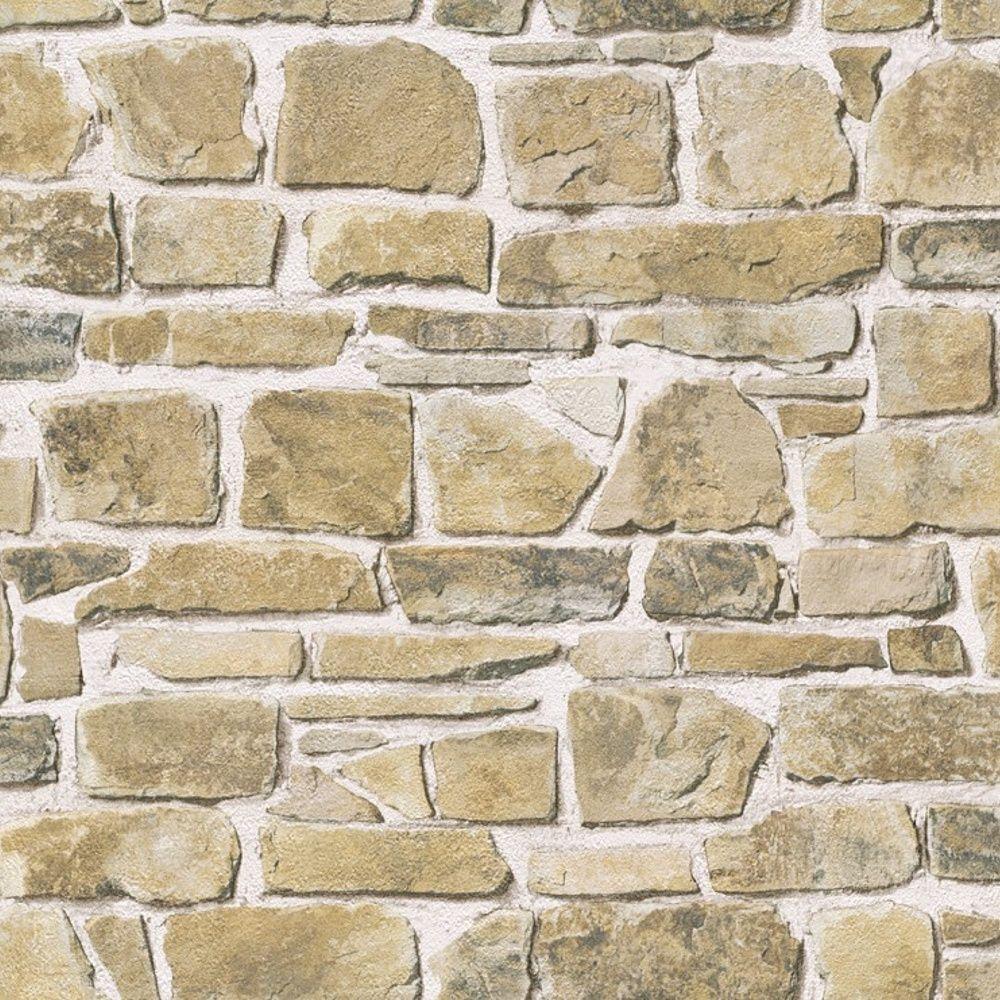 Rasch Stone Wall Natural Wallpaper 265606 Wallpaper Faux Brick Walls Brick Wall Faux Brick