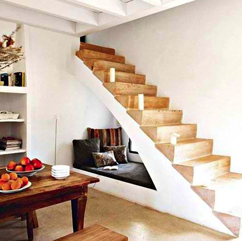 Reading nook under the stairs - small space living