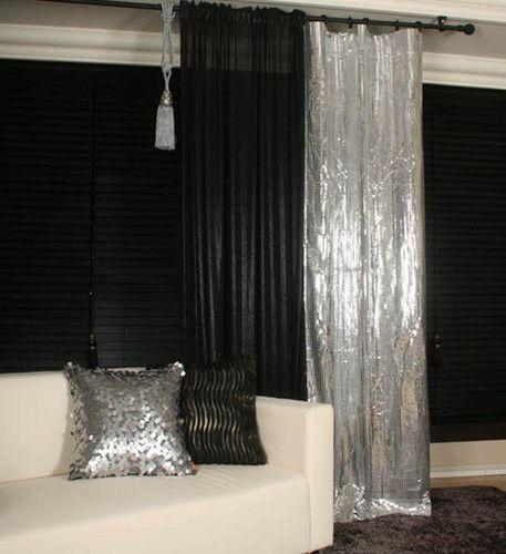 Handmade Glamorous Black Silver Metallic Plaids Curtain Decorative Drapery Panel Master Bedrooms Decor Black Sofa Living Room Decor Apartment Decor