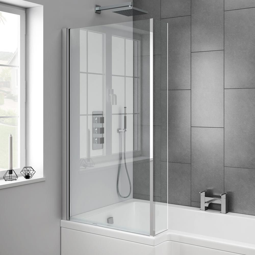 acrylic panels for bathroom walls%0A Milan Shower Bath  L Shaped with Double Hinged Screen  u     Panel Standard  Image