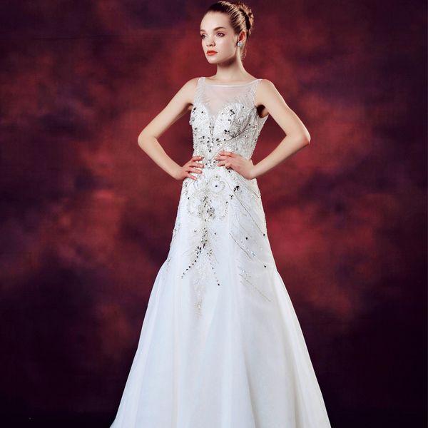 包郵婚紗禮服2014款超閃奢華水晶婚紗綁帶一字肩新娘豪華拖尾婚紗