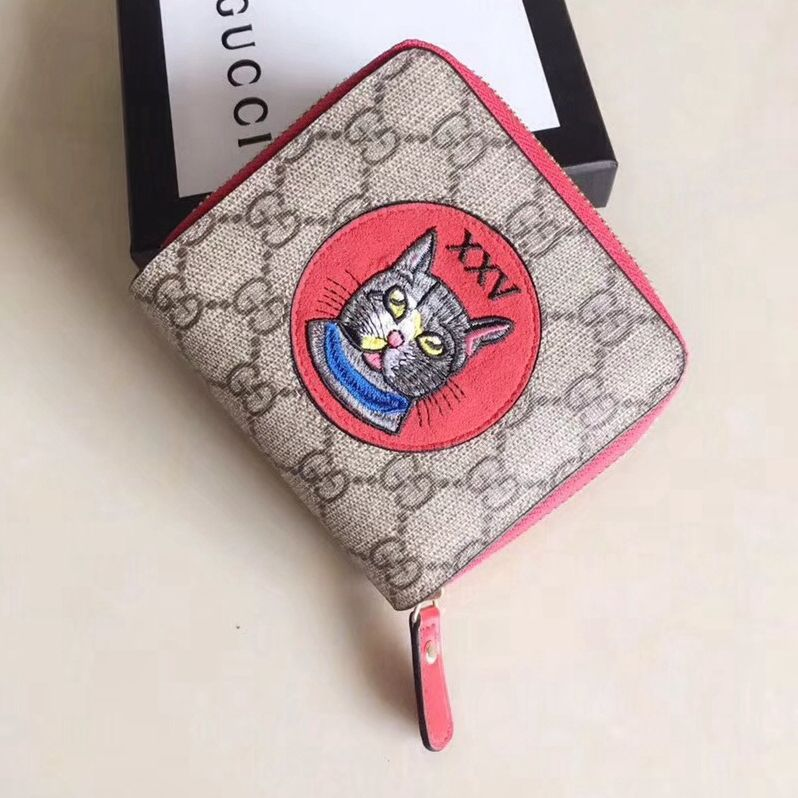 ba2ec49fe8c0 Gucci GG Supreme Mini Zip Wallet With Cat Patch 499382 Red 2018 ...