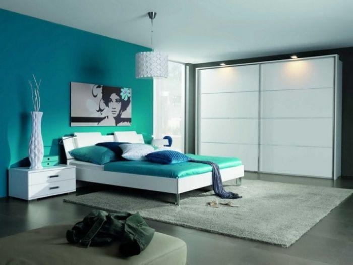 1001  ideas de decoracin de habitaciones modernas  Decoracion  Colores habitacion matrimonial Dormitorio turquesa Decoracion habitacion
