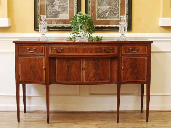 Vintage Sheraton Style Mahogany Sideboard Buffet With Inlay ...