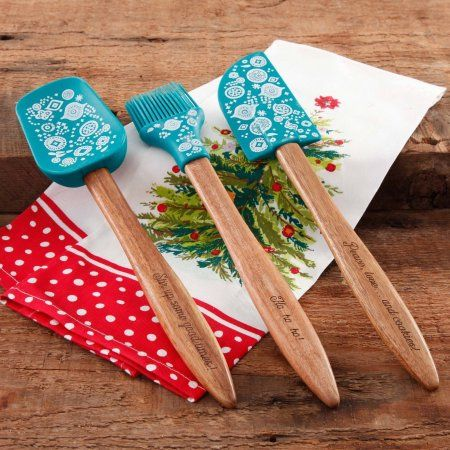 The Pioneer Woman 3-Piece Silicone Head Utensil Set with Acacia ...