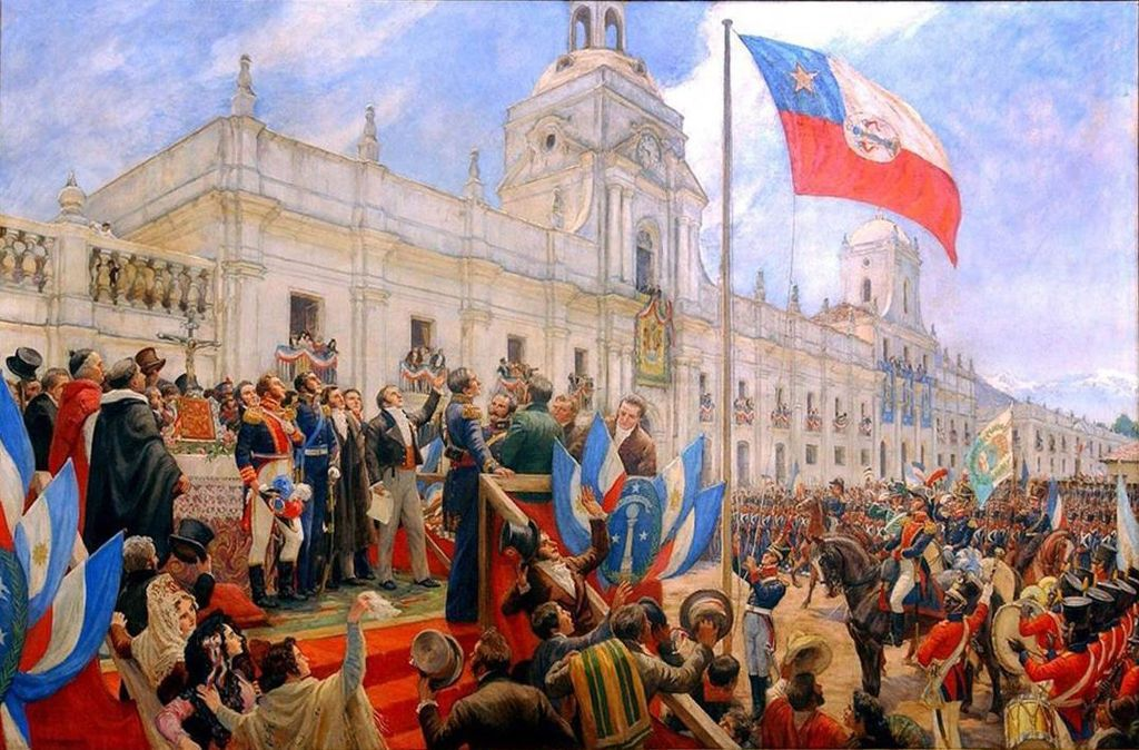 Chile Bernardo OHiggins swears officially the independence of Chile