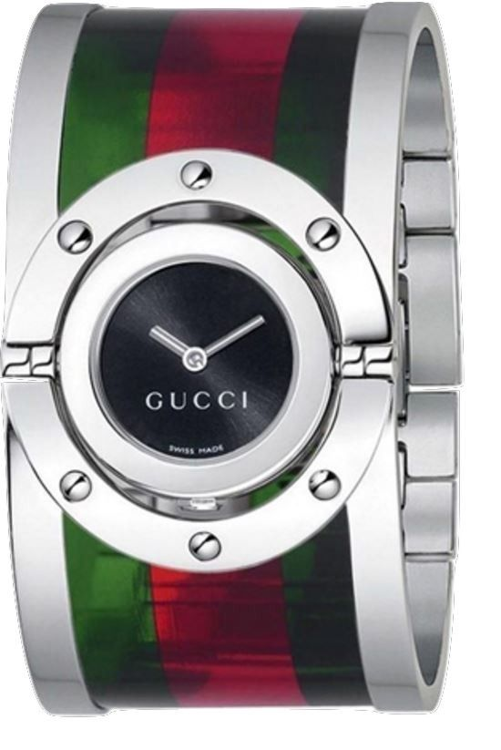 b45ad46d542 Gucci Twirl YA112417 Black Dial Green and Red Acrylic Stainless Steel  Bangle Women s Watch