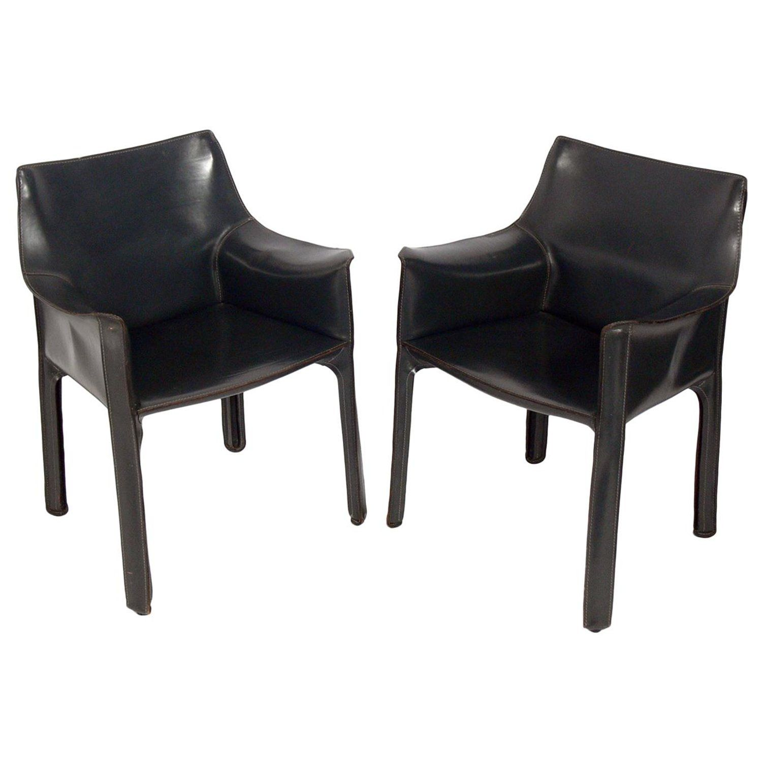 Groovy Pair Of Charcoal Gray Leather Cab Chairs By Mario Bellini Ocoug Best Dining Table And Chair Ideas Images Ocougorg