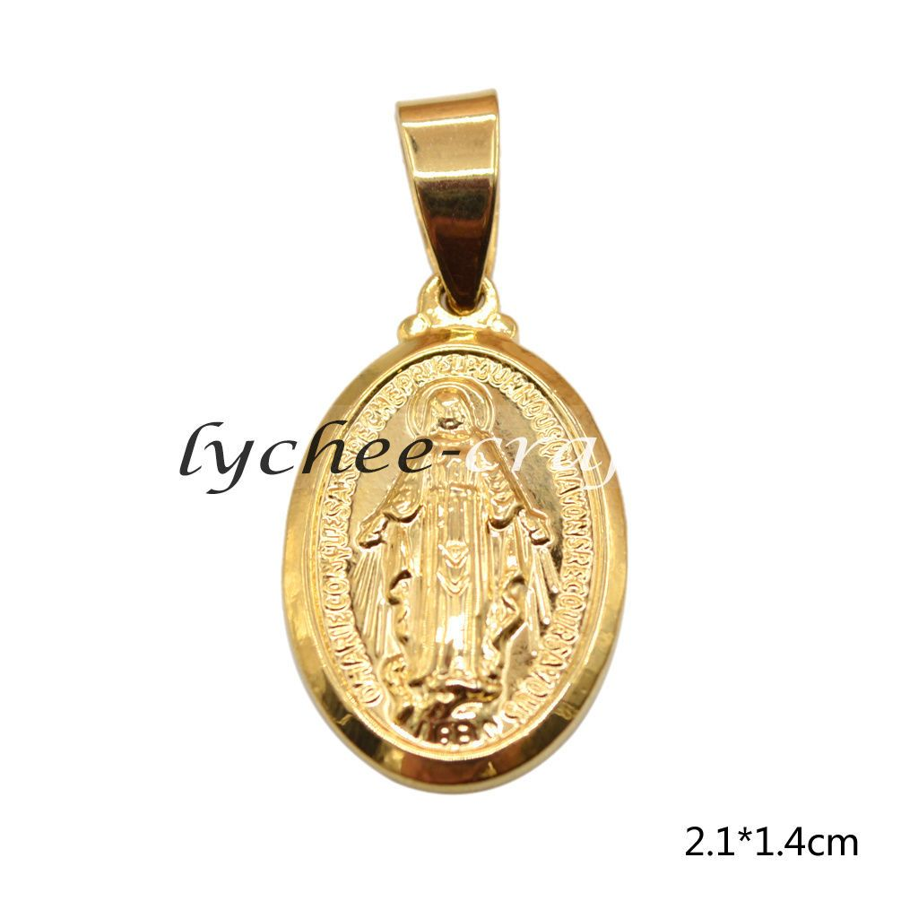 Luxery blessed virgin mary pendant mini gold tone charm for necklace
