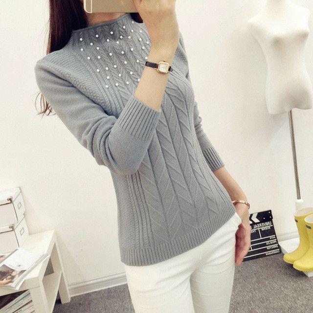Autumn Winter New Fashion Half Turtleneck Women Sweaters High Elastic Beading Knitwear Long Sleeve Slim Pullover Tops 62807