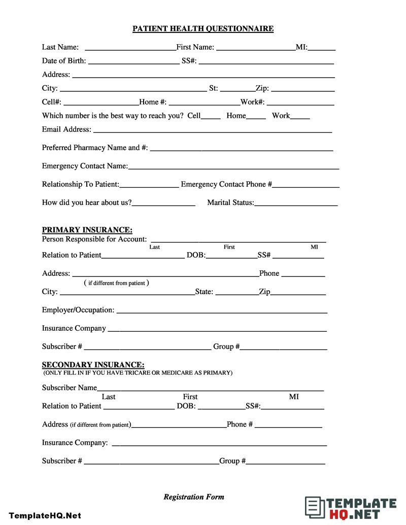Patient Health Questionnaire Form Sample In 2021 Medical Printables Questionnaire Offer And Acceptance