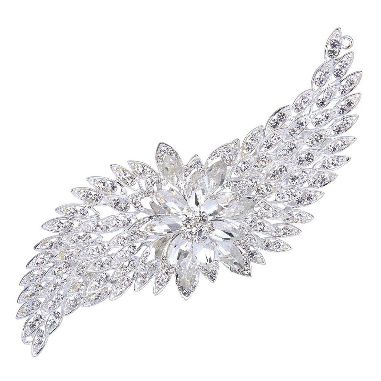 Clearine Women's Bohemian Boho Crystal Cluster Flower Vine Leaf Wedding Bride Bling Hair Comb Clear gpFTT