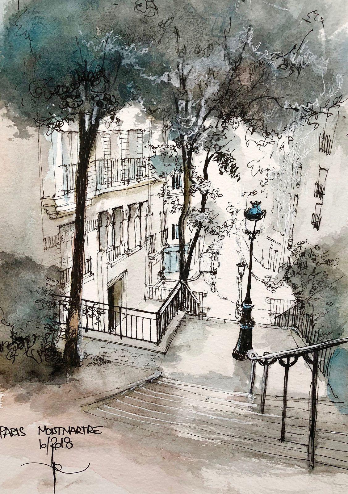 Montmartre Rue Chappe Croquis De Paysage Montmartre Paris Et