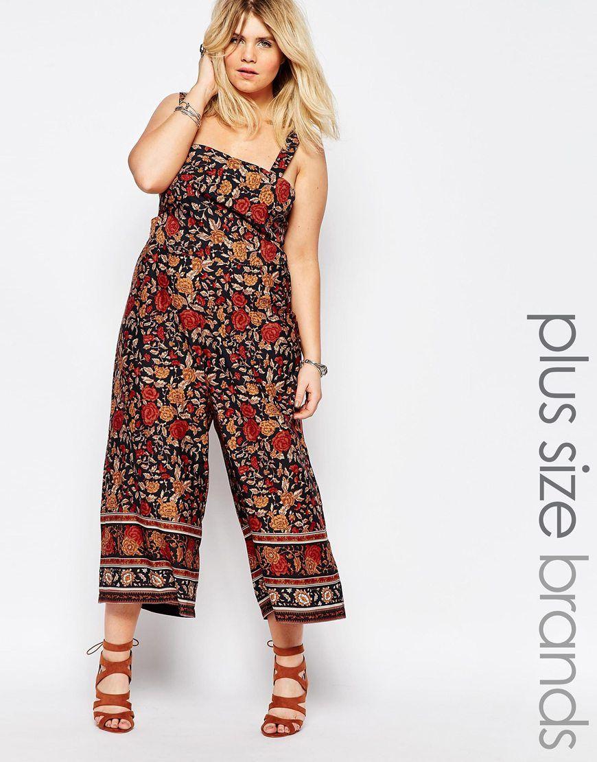 955d043781 Boohoo Plus Floral Culotte Jumpsuit