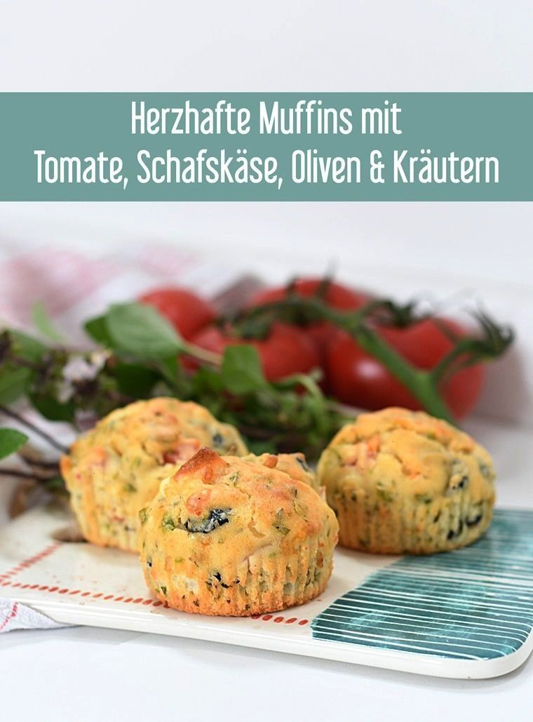 muffins with tomato, sheep's cheese, olives and herbs -  Savory muffins with tomato, sheep's cheese