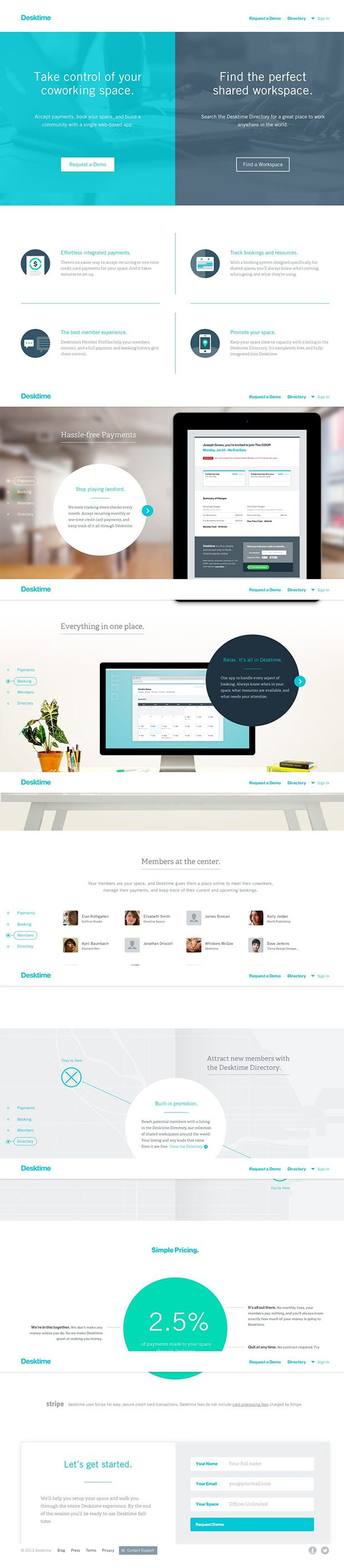 Desktime product app landing page pinterest app ui ux and