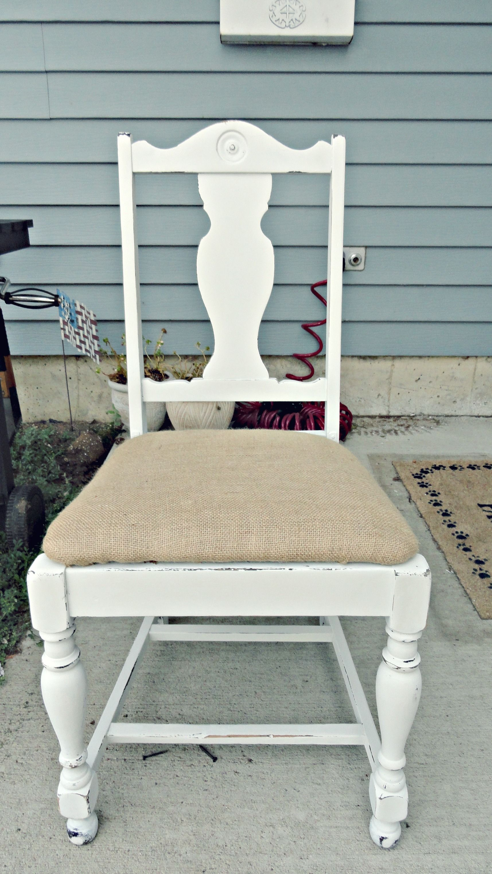 Distressed White Chair With Burlap Seat