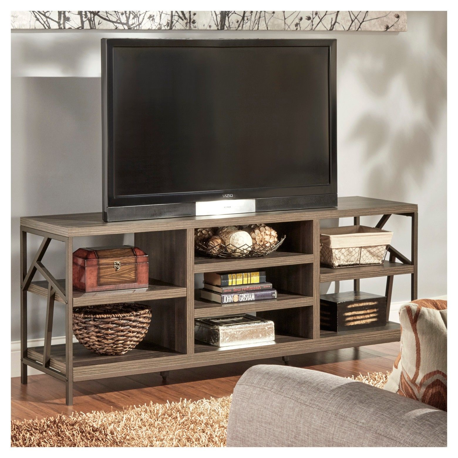 Logan Geometric Cutout Side TV Stand Brown - Inspire Q
