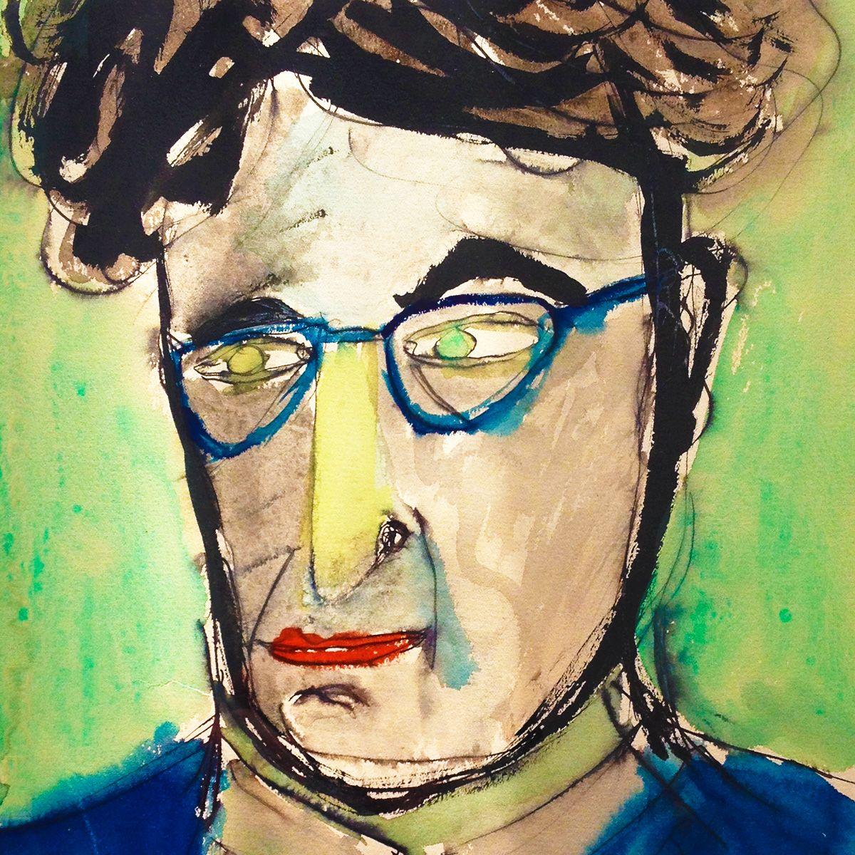 RAYMOND QUENEAU. Autoportrait réalisé entre 1946 et 1952.