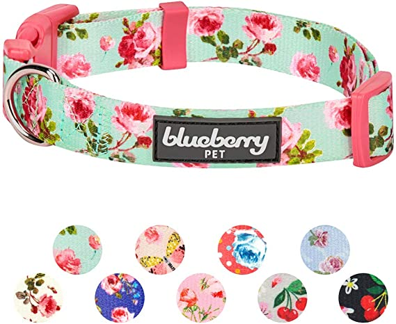 Amazon Com Blueberry Pet 2019 New 4 Patterns Floral Power Lily Of The Valley Designer Dark Purple Adjustable Dog Collar Wit In 2020 Pink Peonies Pattern Pet Supplies