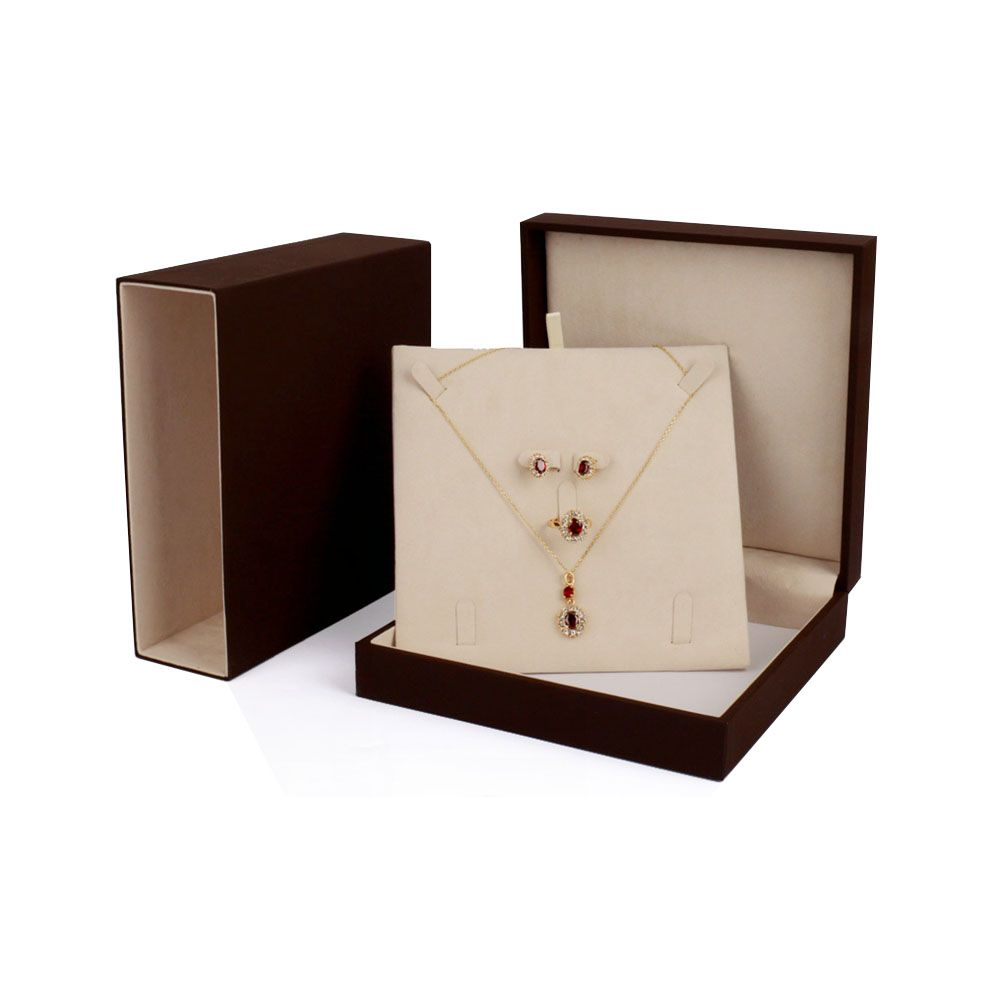 Wholesale Jewelry Packaging Brown Cream Jewelry Packaging Box With Inlay Jewelry Box