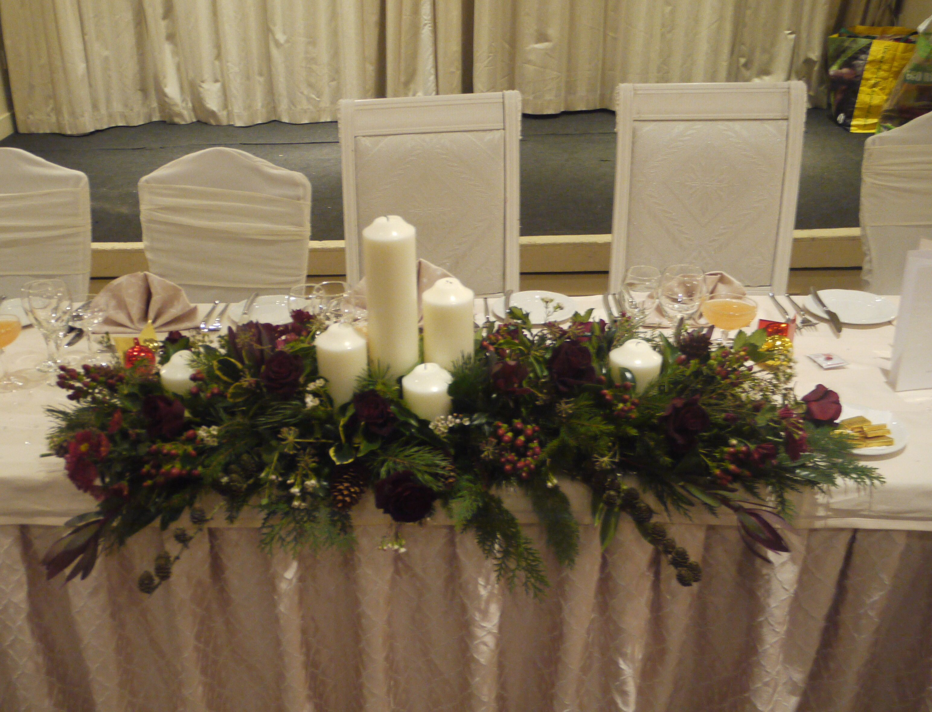Winter Wedding Top Table Flowers With Candles