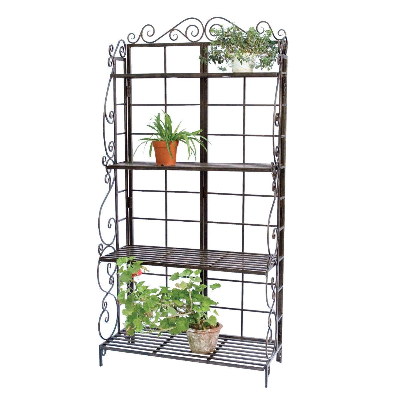 Black metal indoor outdoor planter stand with shelves budget