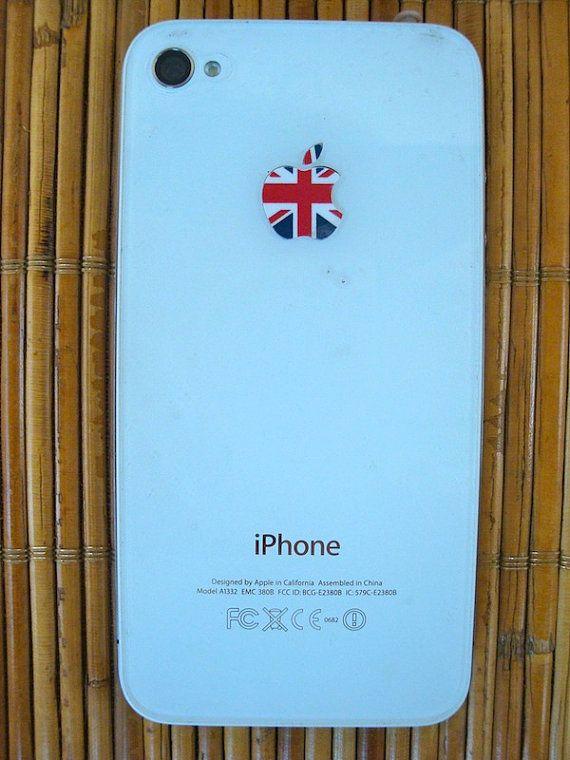 4x UK flag Apple Logo Vinyl Sticker decal for iPhone