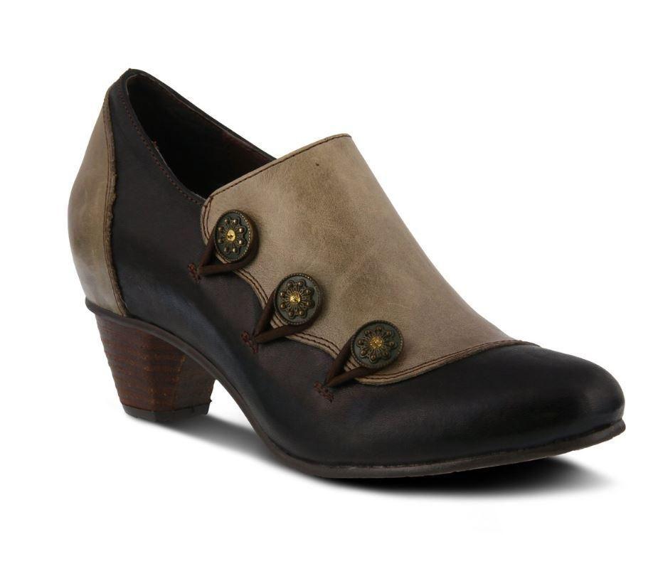 Lartiste greentea slipon shoe in black tan shoes