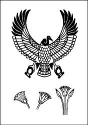 Egyptian pattern lotus flower and vulture colouring in