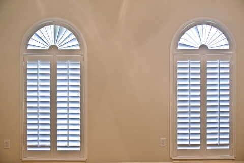 A Pair Of Louverwood Poly Plantation Shutters On Arched Windows By The  Louver Shop. Www.louvershop.com