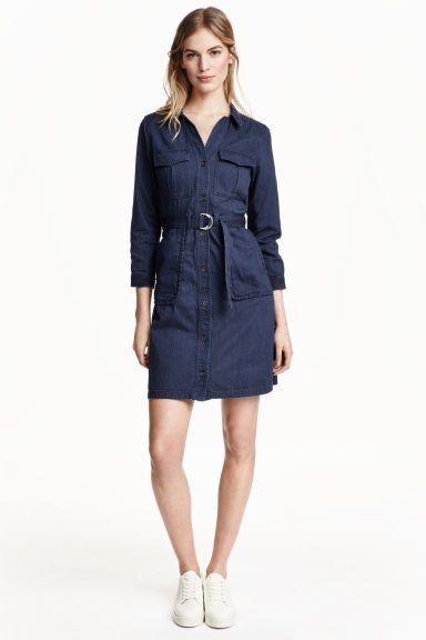 Denim cargo dress - Dark denim blue - Ladies  7ee4a26eb723
