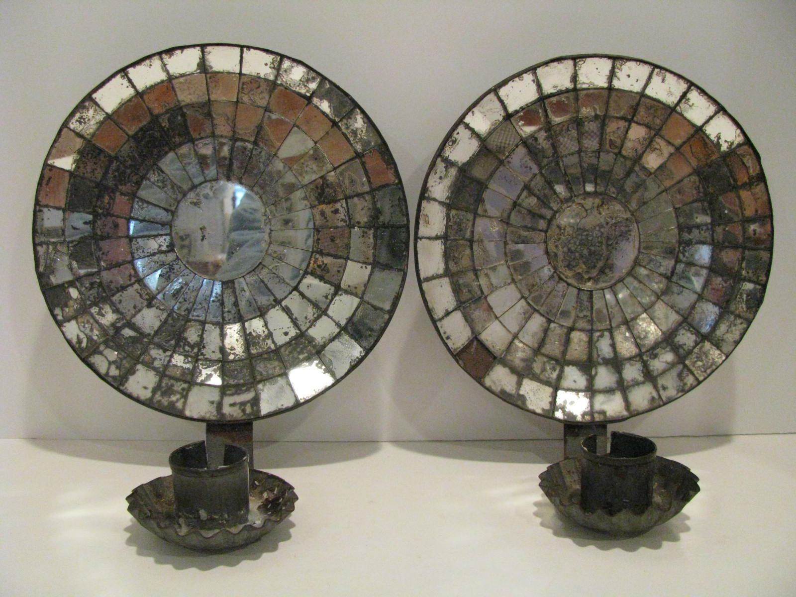 Pair Of Vintage Tin Mirrored Candle Wall Sconces Ebay