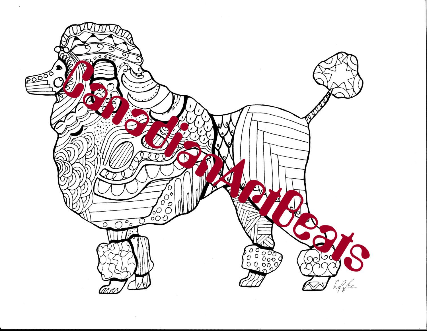 Downloadable Poodle Dog Zentangle Inspired Coloring Page By CanadianArtBeats On Etsy
