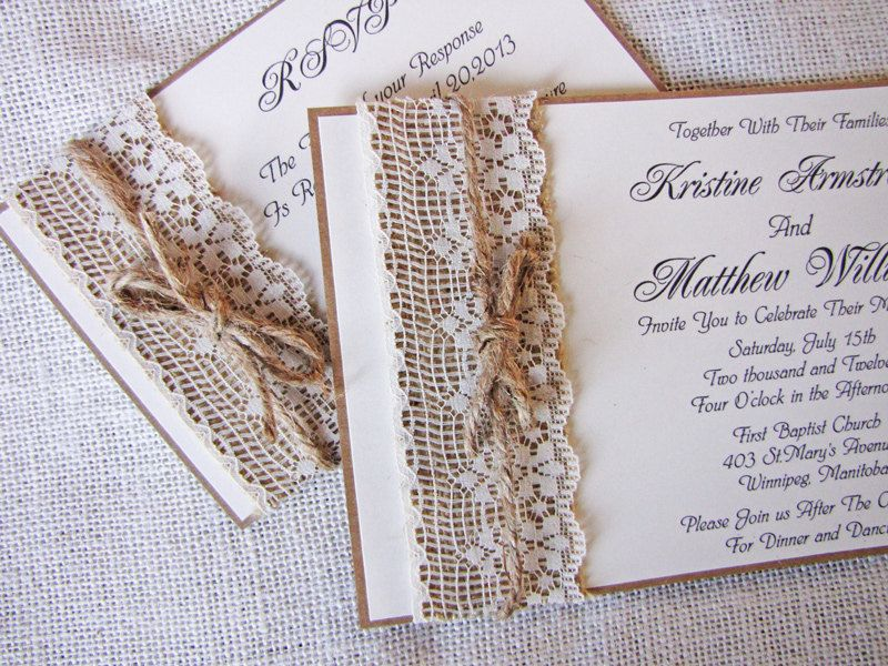 rustic lace wedding invitation, burlap wedding invitation. lace, Wedding invitations