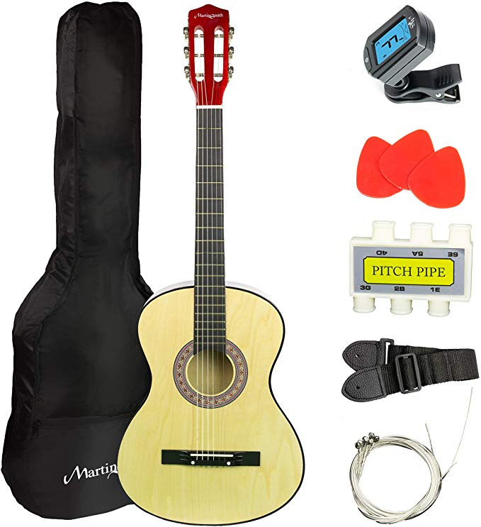 Martin Smith 38 Inch Acoustic Guitar Natural With Case Pick Tuner Strap Extra Strings And 2 Months Of Lessons Musical In Guitar Acoustic Guitar Acoustic