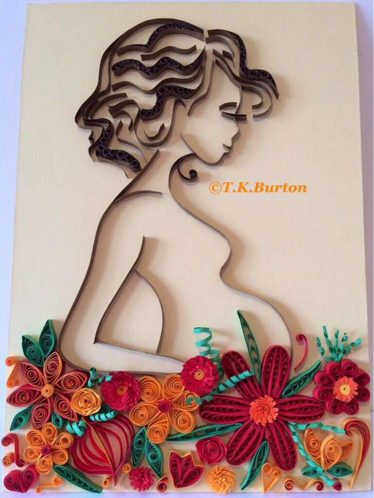 Quilled pregnant girl. I'm so pleased with how she's turned out, I loved making her :) - by: Tina K. Burton